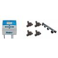 "Controller Hunter Eco Logic 230VAC tranformator intern montare interioara + Electrovana Rain RN 155 Plus 24V AC - 1"" 24V AC 1""M / Union + Ramificatie (manifold) 4 iesiri 1"""